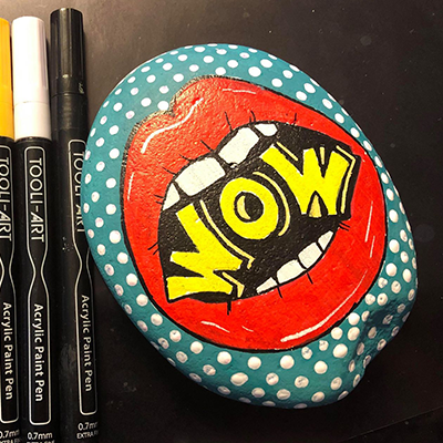wow inside mouth painted with acrylic paint pens on rock