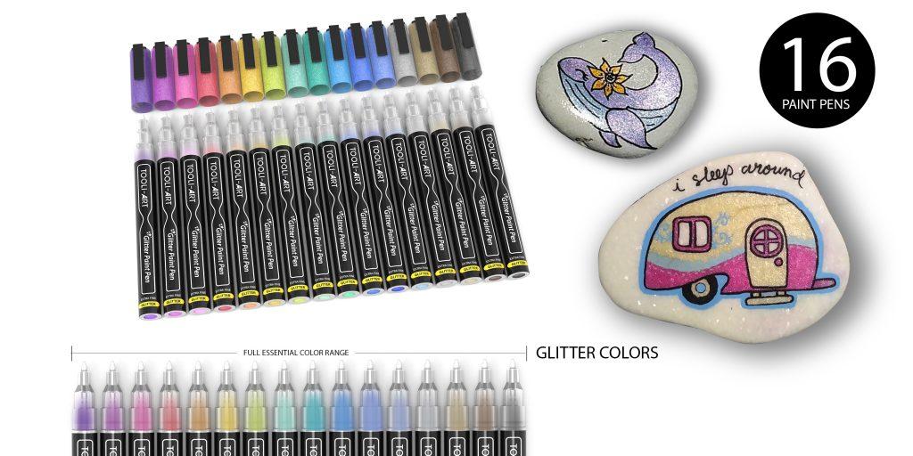 16 glitter paint pens