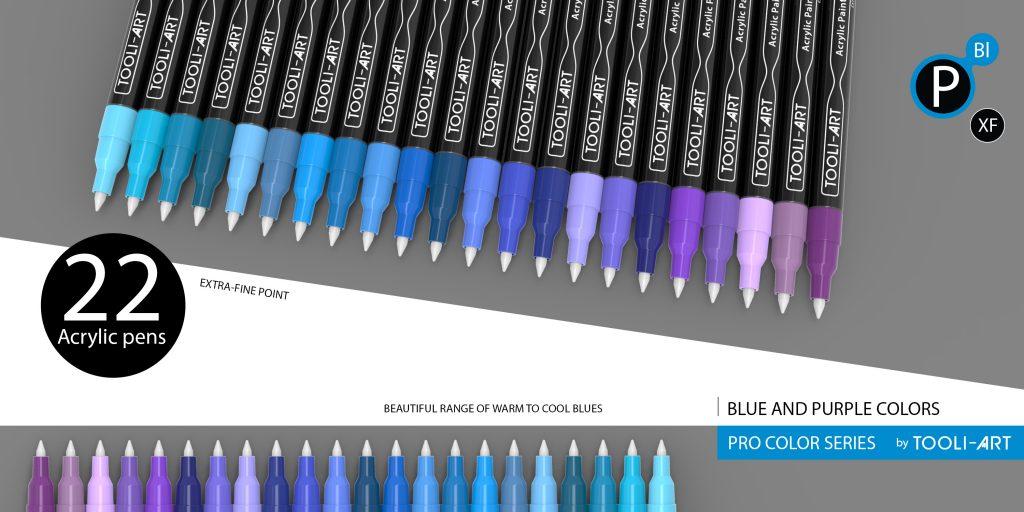 pro color series colorful pens, blue and purple colors