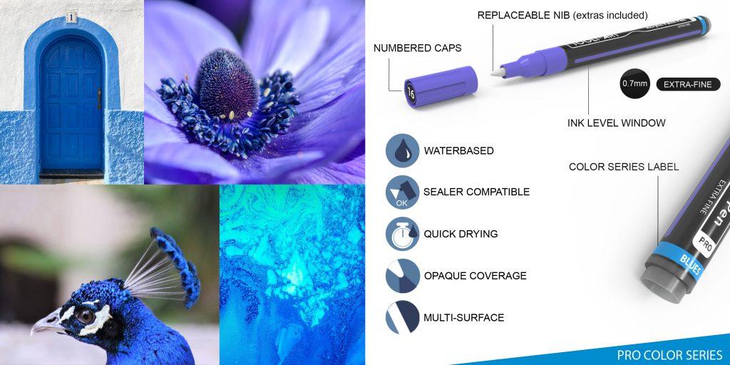 pro color series colorful pens, blue colors