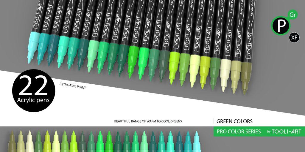 pro color series colorful pens, green colors