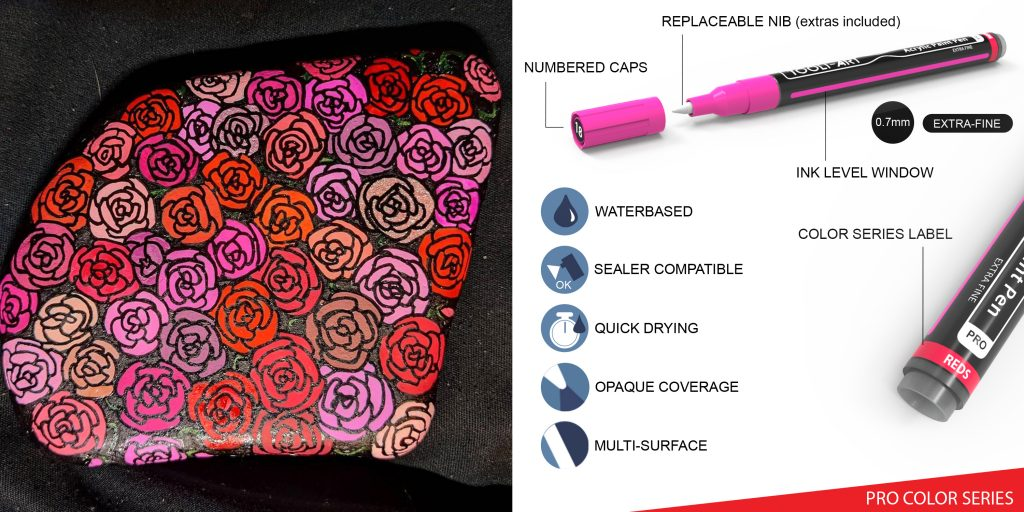 pro color series colorful pens, red colors