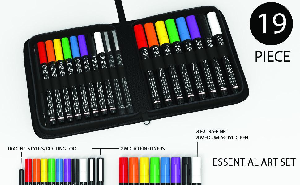 19 essential art set in zipper case