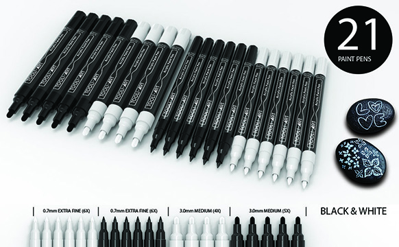 21 black and white paint pens