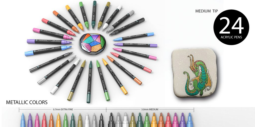 metallic pen 24 acrylic pens medium tip