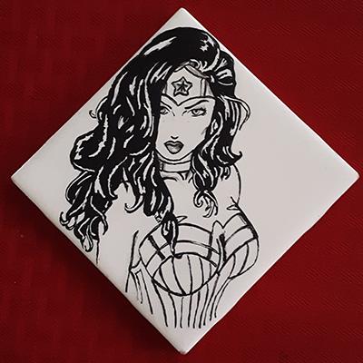 wonder woman drawing on tile