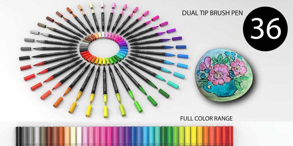 dual tip brush pen full color range