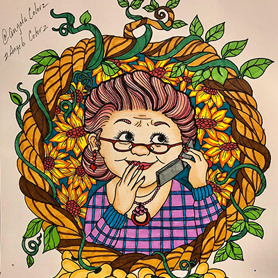 marker art old lady granny on phone
