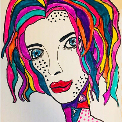 vivid bright colors of female face