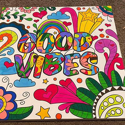 marker art good vibes colorful vivid colors