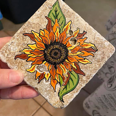 painted tile stone by acrylic paint pens