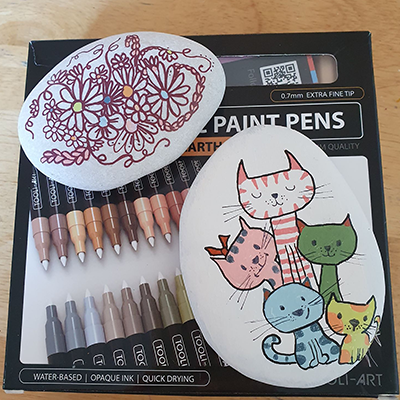 rock painting of cats on a box of paint pens