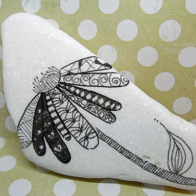 micro fineliner black lines drawn on white santorini stone