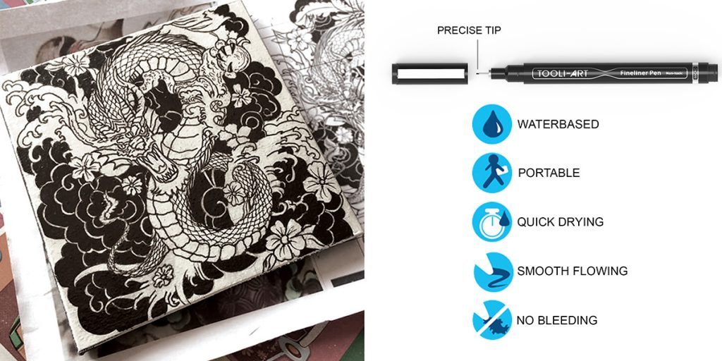 fineliner precise tip waterbase portable quick drying smooth flowing no bleeding