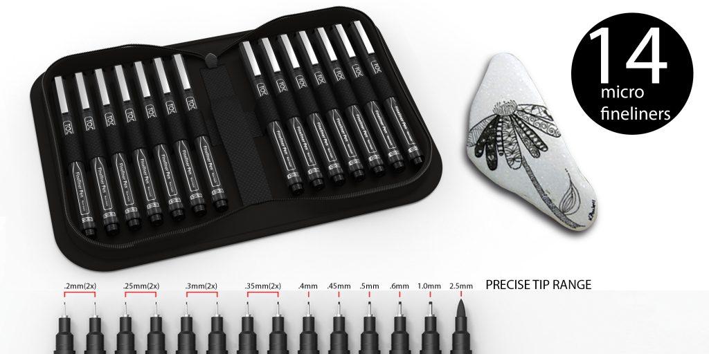 14 micro fineliners precise tip range in case