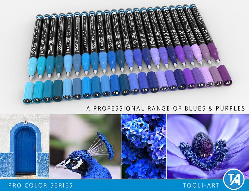 reds pro color series paint pens professional range of blues and purples colors