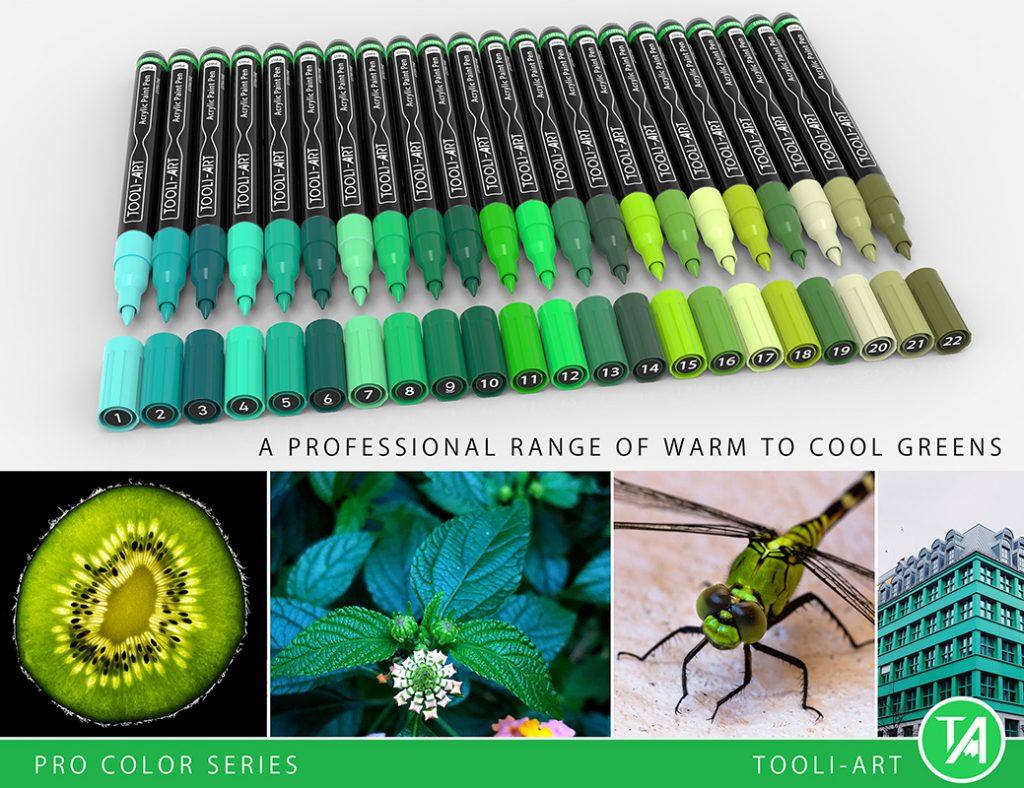 reds pro color series paint pens professional range of green colors