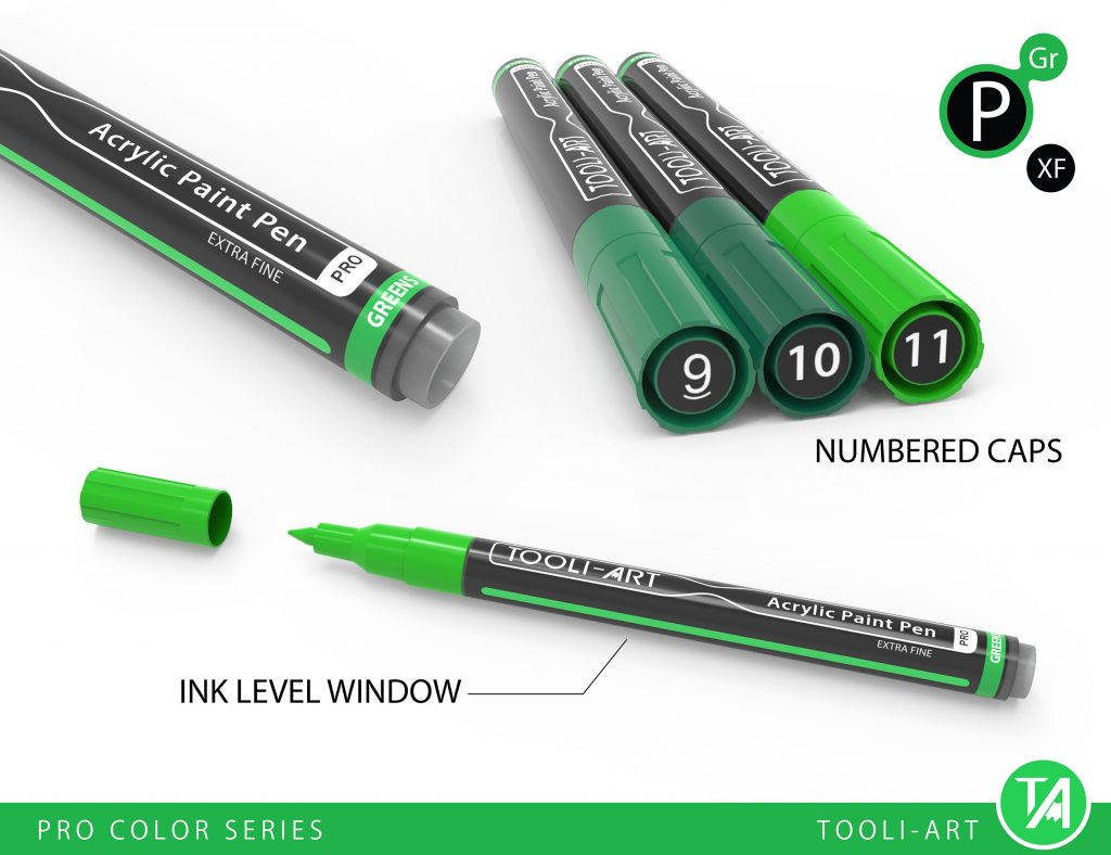 pro color series replaceable nib, numbered caps, ink level indicator