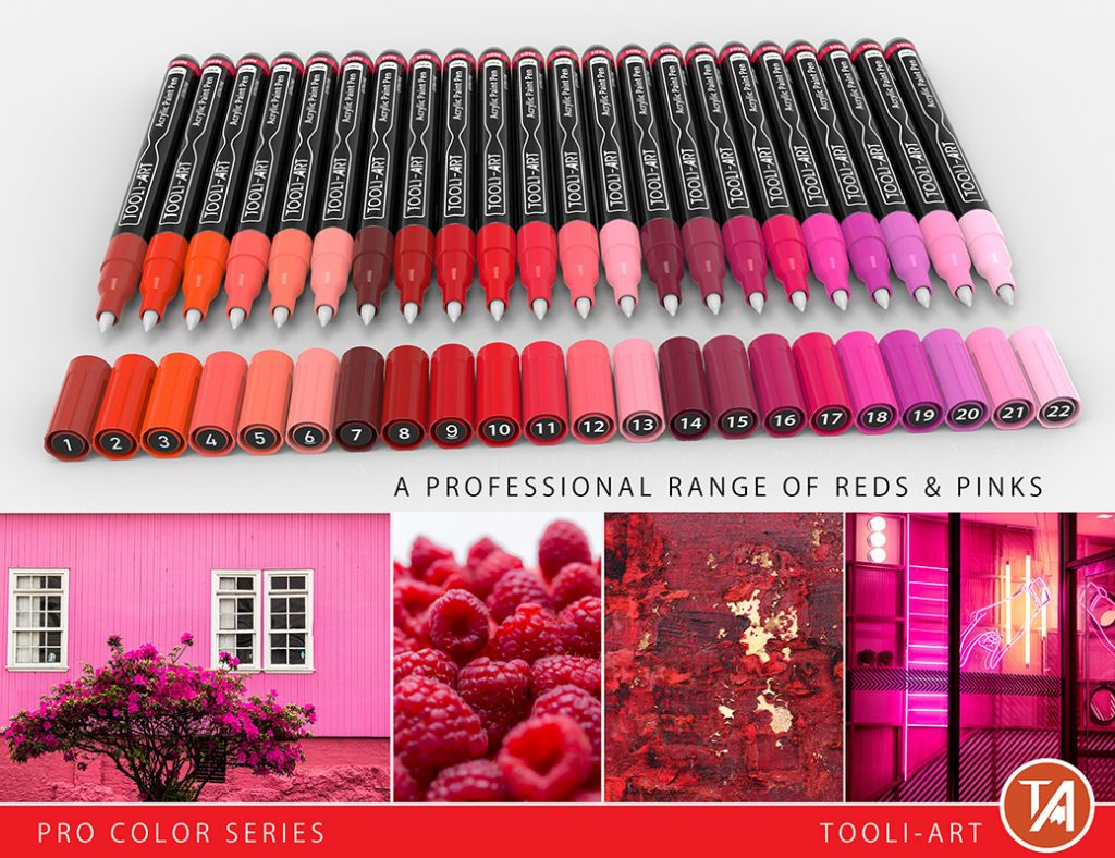 reds pro color series paint pens professional range of reds and pink colors