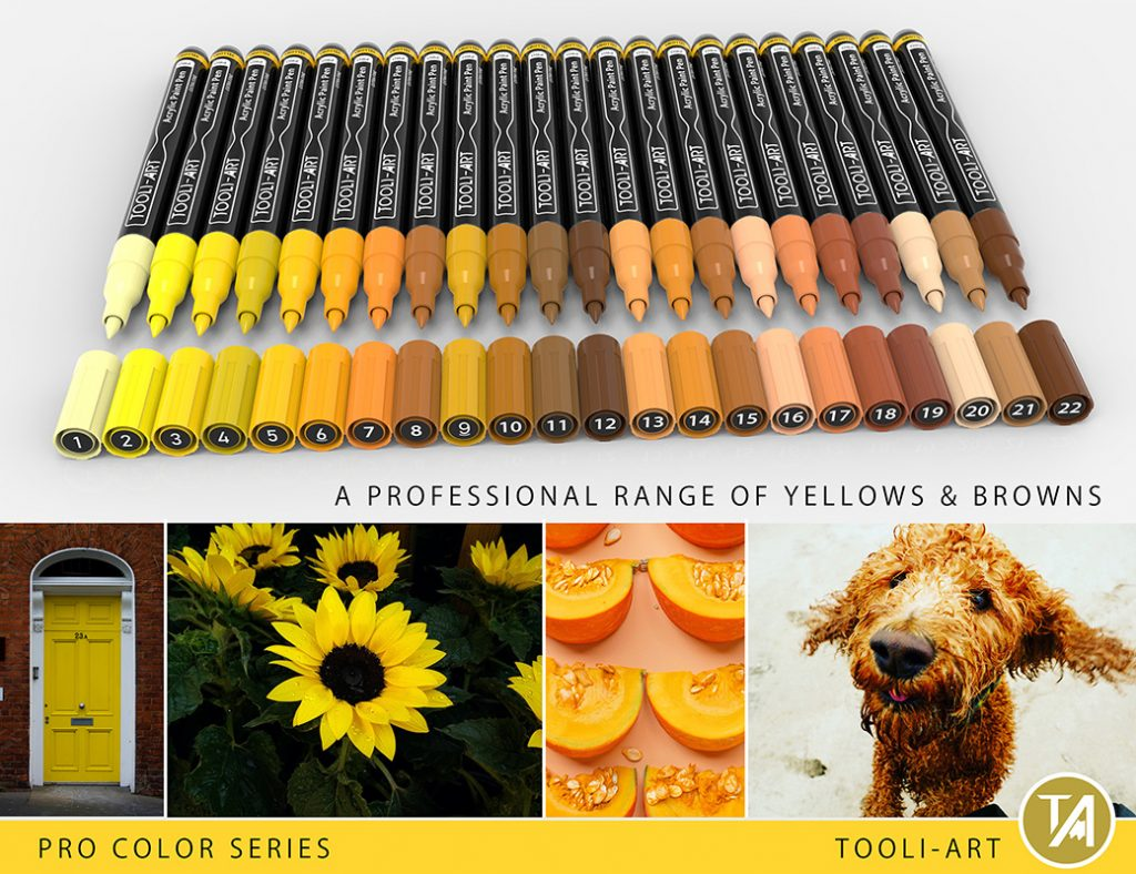 reds pro color series paint pens professional range of yellows and brown colors